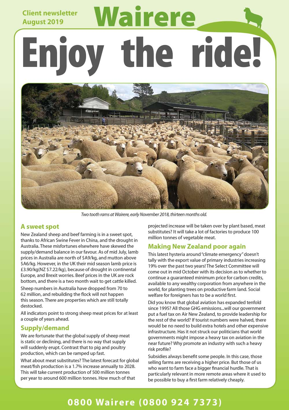 Wairere Newsletter August 2019 Wairere Rams